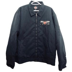 Vtg Green Day Patch Quilted Dickies Zip Jacket XL